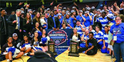 MT Women's basketball team celebrating winning the conference championship