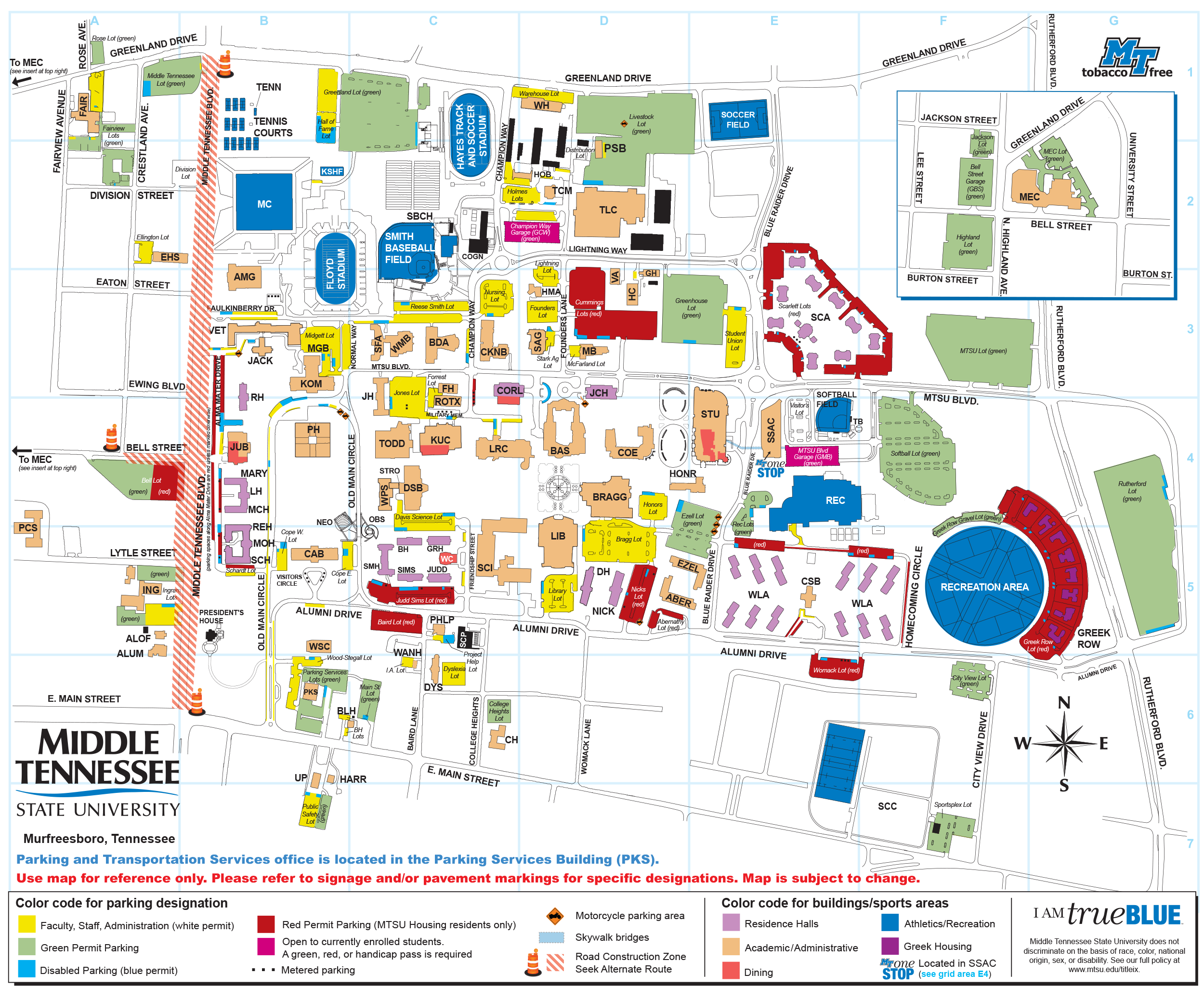 MTSU CAMPUS MAP | MTSU Online Visitor's Guide